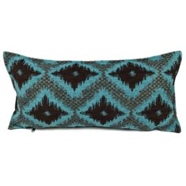 Turquoise met bruin kussen - met ruit/kelim (turquoise) patroon ± 30x60cm