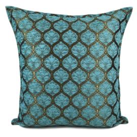 Turquoise kussen - Honingraat met goud patroon ± 70x70cm