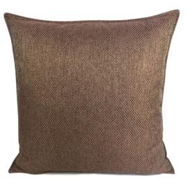Esperanza Deseo ® kussen - Linnen meubelstof met grote lus - Brons met koraal ± 60x60cm
