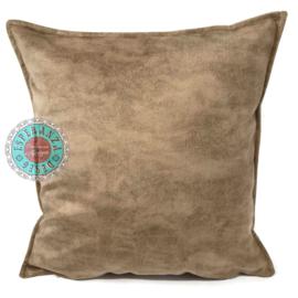 Velvet kussen licht walnoot bruin (3001) ± 45x45cm