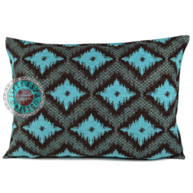 Turquoise met bruin kussen - met ruit/kelim (bruin) patroon ± 50x70cm