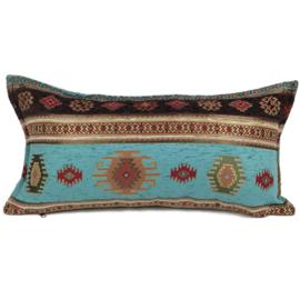 Turquoise kussen - Aztec met bruin ± 30x60cm