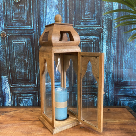 Oriental houten hoge lantaarn in de kleur bruin met glas 54 cm