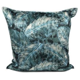 Turquoise kussen met mooie veren/bladeren print ± 70x70cm