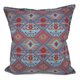 Esperanza Deseo ® kussen - Tribal, turquoise rood oranje lavendelblauw ± 60x60cm