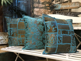 Turquoise kussen - Patchwork brons ± 70x70cm