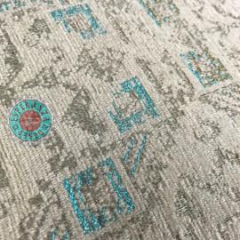 Sierkussen creme met turquoise met Kelim motief ± 50x70cm