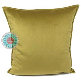 Velvet oker goud kussen passend bij veren/bladeren kussen ± 45x45cm