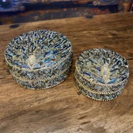 """Juwelendoosje """"pauw"""" goud (set van 2 stuks) 5cm en 10cm"""