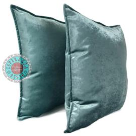Velvet kussen Peacock Jade grijs ± 45x45cm