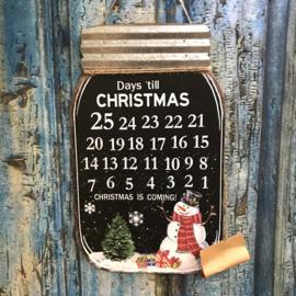 Metalen met houten bord kerstman (aftel kalender) 40cmx25cm