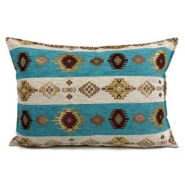 Turquoise kussen - Aztec wit ± 50x70cm