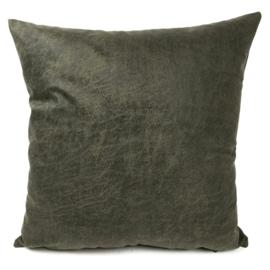 Leatherlook kussen in de kleur donker groen ± 45x45cm