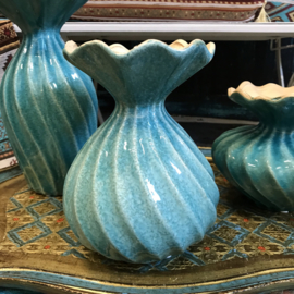 Turquoise keramieke vaas 20cm (PTMD)