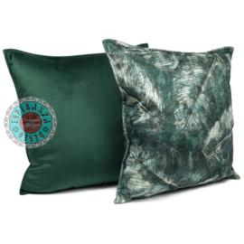Groen kussen met mooie veren/bladeren print 45x45cm