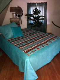 Turquoise sprei Aztec 200x300cm met rand rondom