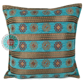 Peru stripes turquoise kussen ± 45x45cm