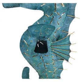 Metalen zeepaard met opening voor waxine lichtje