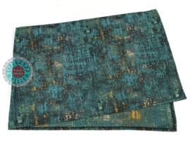 Tafelloper Industrieel Petrol blauw ± 45x140cm