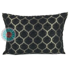 Honingraat zwart kussen ± 50x70cm (bronskleurig motief)