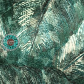Groen kussen met mooie veren/bladeren print