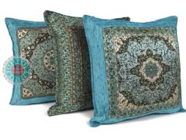 Turquoise kussen - Mandala round ± 45x45cm