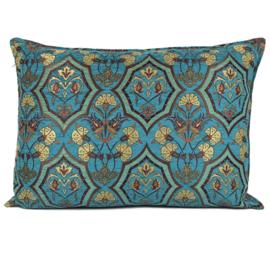 Turquoise kussen - Flowers mint en turquoise ± 50x70cm