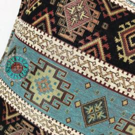 Vintage blauw met zwart kussen - kelim ± 50x70cm