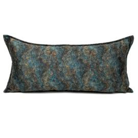 Petrol/turquoise kussen - Marble stone ± 30x60cm