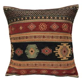 Zwart en rood kussen - Aztec ± 45x45cm