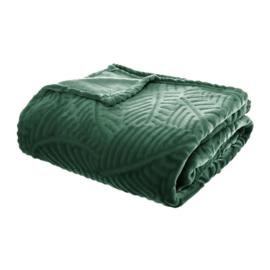 Flanellen fleece plaid groen met blad motief - 220x240cm