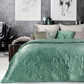 Fluwelen bedsprei met bloemen design- vintage mint (Early dew) - 220x240cm incl. twee kussenhoezen 40x40cm