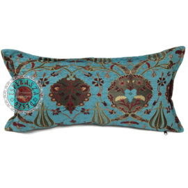 Turquoise kussen - Flowers ± 30x60cm
