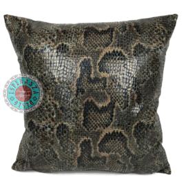 Slangenprint kussen python brick oranje met zwart ± 45x45m