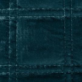 Petrol blauwe dikke fluwelen bedsprei 220x240cm incl. 2 bijpassende kussenhoezen 45x45cm