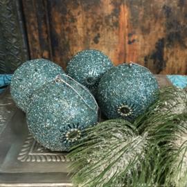 Set van vier turquoise kerstballen 10cm