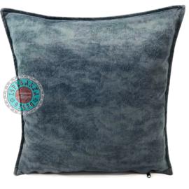 Velvet kussen grijs blauw (7021) ± 45x45cm