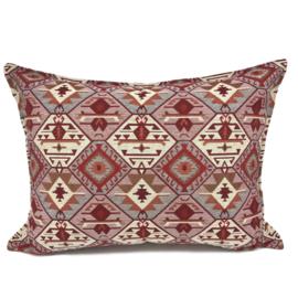Esperanza Deseo ® kussen - Tribal,  roze, creme, rood en grijs ± 50x70cm