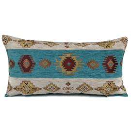 Turquoise kussen - Aztec wit ± 30x60cm