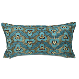 Turquoise kussen - pansy flowers ± 30x60cm