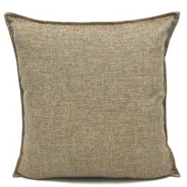 Esperanza Deseo ® kussen - Linnen meubelstof met fijne lus - Brons met licht beige ± 45x45cm