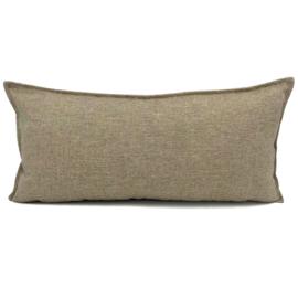 Esperanza Deseo ® kussen - Linnen meubelstof met fijne lus - Brons met licht beige ± 30x60cm