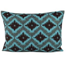 Turquoise met bruin kussen - met ruit/kelim (turquoise) patroon ± 50x70cm
