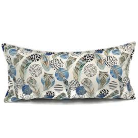 Ivoor kussen - Boho print met mint, bruine en blauwe veren ± 30x60cm