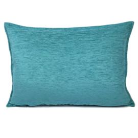 Turquoise blauw/groen kussen ± 50x70cm