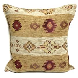 Oker geel en creme kussen - Aztec stripes ± 45x45cm