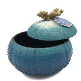 Turquoise, mint en petrol decoratie schaal zee-egel 18x18x3cm