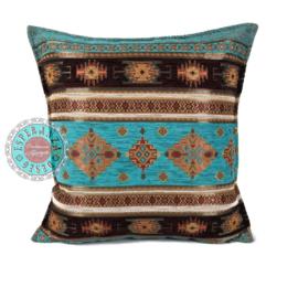 Turquoise kussen - Little Peru ± 45x45cm
