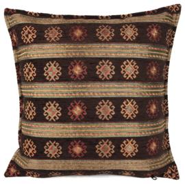 Peru stripes donkerbruin kussen ± 45x45cm
