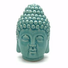 Keramieken Boeddha hoofd in de kleur turquoise groen